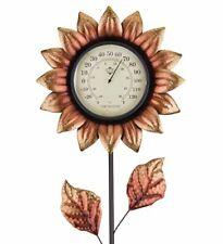 Flower Garden Stake Thermometer Metallic Copper Decorative Outdoor Temp Monitor