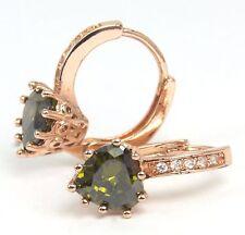 Women's Rose Gold plated Green Heart Crystal Earrings Jewellery