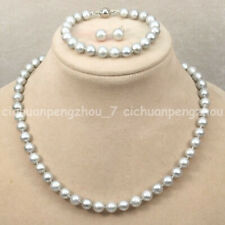 Natural 7-8mm Gray Freshwater Pearl Necklace Bracelet Earrings Set 18-36'' AAA