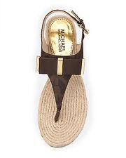 Michael Kors Bow Thongs Sandals Brown Leather Shoe Flip Flop 6 Slides