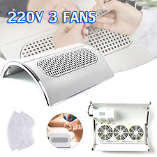 3 Fans Nail Art Dryer Machine Dust Suction Cleaner Vacuum Collector Gel Tool 40W
