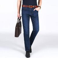 Men's Business Jeans Denim Pants Stretch Straight Skinny Slim Breathable Plus