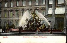 Berlin frankierte Postkarte Begas-Brunnen Schloss-Platz 1907 nach Rostock gel.