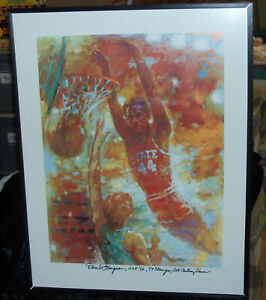 1974 NC State Wolfpack NCAA Champions DAVID THOMPSON SIGNED NUM POSTER SKYWALKER