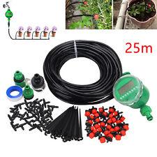Watering DIY 25m Micro Drip Irrigation System Auto Timer Self Plant Garden Hose