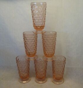 Set 6 INDIANA Cube Cubist Pattern PINK Footed Tumblers Goblets Glasses Vintage