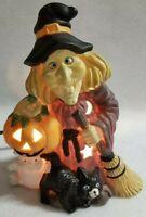 Halloween Electric Lighted Ceramic Witch Ghost  Pumpkin Jack o Lantern Black Cat