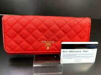 AUTH Prada Tessuto Red Quilted Nylon Leather Continental Long wallet Red Y1250
