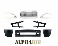Freightliner Columbia Front Bumpers Tow Hole & Grill + Bug Screen B12WG1W 8pcs