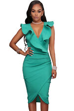 Women Fashion  Sexy Night ClubTurquoise Ruffle V Neck Bodycon Midi Dress