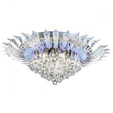 SEARCHLIGHT CRYSTORIA COLOUR CHANGING CRYSTAL SEMI FLUSH CEILING LIGHT 8215-5CC