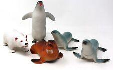 "Boley Artic (5-Pack) Large 7"" Plastic Toy Set Walrus Seal Polar Bear Penguin"