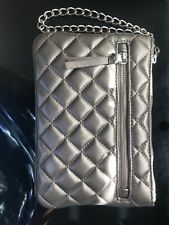 Express Wrislet Evening Bag Clutb Metallic Gray Chrome Quilted