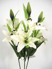 TOP QUALITY ARTIFICIAL / SILK FLOWERS 3 STEMS OF  LARGE  IVORY    LILIES