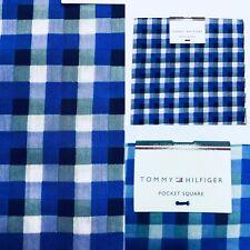 NEW Tommy Hilfiger Pocket Square Silk Cotton Gingham Blue Purple $35 Retail