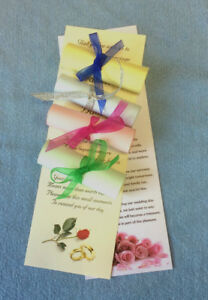 70 Personalised Wedding Favour Scrolls + organza on cream white pink blue green