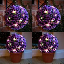4 x Solar Powered 20 Led Lights Hanging Purple Rose Topiary Ball Dual Function