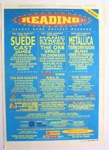 READING FESTIVAL 1997 Poster Ad METALLICA MARILYN MANSON EELS MOGWAI SUEDE
