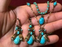 Vintage Style EARRINGS & NECKLACE SET Ancient Egypt Egyptian Blue Turquoise
