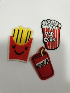 Embroidered popcorn cola chips  Patch Sew On Badge Fast Food Embroidery x 3