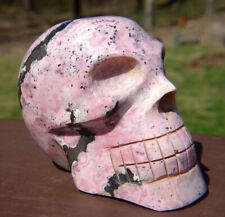 Pink Rhodonite Skull Carving ~ Peru