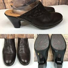 Womens Sofft Chocolate Brown Embossed Leather High Heel Mules Shoes Size 10 M