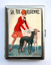 Cigarette Case id case Wallet La Vie Parisienne Greyhound Dog Art Deco