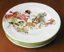 Park Avenue Puppies Holiday Dogs Pier 1 Imports White China Hand-painted Plates