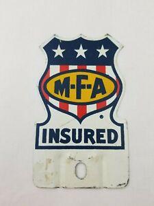 "Vintage ""M-F-A Insured"" License Plate Topper"