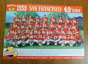 1959 SF 49ers Team Photo Players Coaches Falstaff Beer Advertising Card 6 X 9