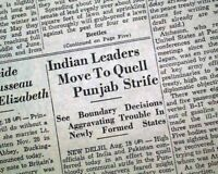 PARTITION OF Union of INDIA Dominion of Pakistan Independence 1947 Old Newspaper