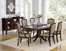 Traditional Brown Dining Room Furniture 7pcs Round Oval Table & Chairs Set IC5O