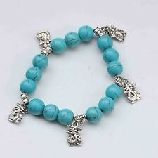 100% Natural Turquoise & Tibet Silver Handwork Chinese Zodiac Bracelet -- Dragon