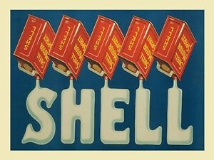 Shell Red Cans large steel sign 400mm x 300mm (og)