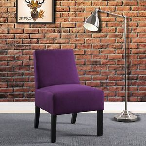 Tino, Modern Armless Accent Chair in 5 Fabrics Beige,Black,Blue,Grey or Purple