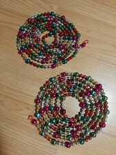 2 Lovely Vintage Mercury Glass Christmas Tree Garland 79+� Round & Indent Beads