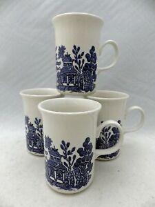 Churchill of England - Blue Willow - set/lot of 4 Mugs w/Ear Handles - EUC