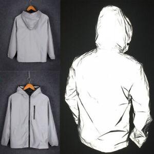 Mens Gray Cycling Motorcycle Hip Hop Hooded Coat Windbreaker Reflective Jacket