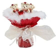 Three Piece Bear Bouquet Gift Red