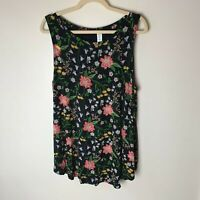 Old Navy Luxe Women's Sleeveless Tank Top Size XL Floral Casual Black Pink