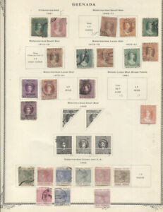 GRENADA 1861-1911 COLLECTION ON ALBUM PAGES MINT USED better includes nos. 9* 21