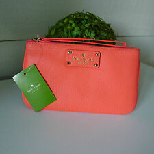 KATE SPADE Coral LEATHER Zippered Chrissy POUCH WRISTLET Rare CLUTCH Sold Out !
