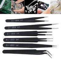6Pcs Precision ESD Anti-Static Repair Stainless Steel Tweezers Set Kit Tools