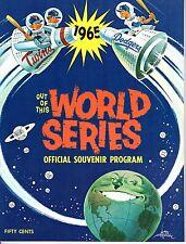 1965 World Series program, Minnesota Twins @ Los Angeles Dodgers , unscored~ VG