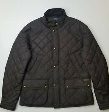 Womens Polo Ralph Lauren Diamond Quilted Equestrian Barn Style Jacket Brown Sz L