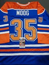 Andy Moog Edmonton Oilers Autographed Signed Blue Style Jersey XL coa-JSA-*