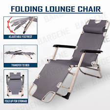 Reclining Sun Beach Deck Lounge Chair Outdoor Folding Camping Fishing Arm Rest G