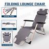 Reclining Sun Beach Deck Lounge Chair Outdoor Folding Camping Fishing Arm Rest G