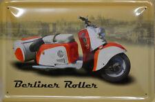 BERLINER ROLLER - MOPED  - DDR -  ROT WEISS - BLECHSCHILD - 30 x 20 cm (BS 919)