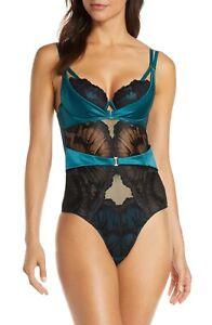 New Ann Summers Evangelique Underwire Bodysuit Size 16/18 F-H US Teal & Black XL
